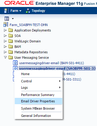 Email Driver Properties